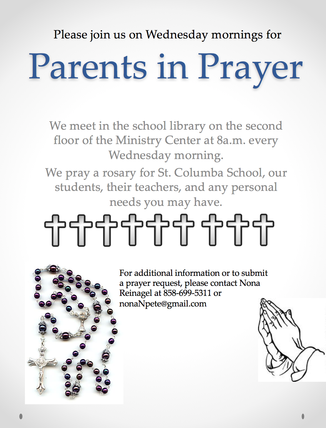 Parents in Prayer every Wednesday